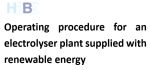 "The international application ""Operating procedure for an electrolyser plant supplied with renewable energy""."
